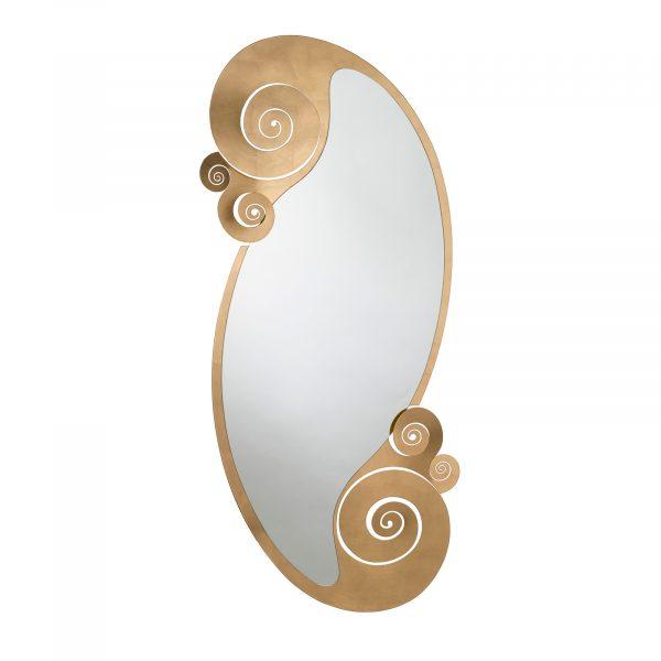 Specchio da terra in ferro con riccioli Circeo