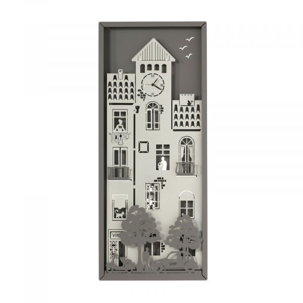 Pannello urbano verticale della linea Piccolo Borgo con quadrante per orologio