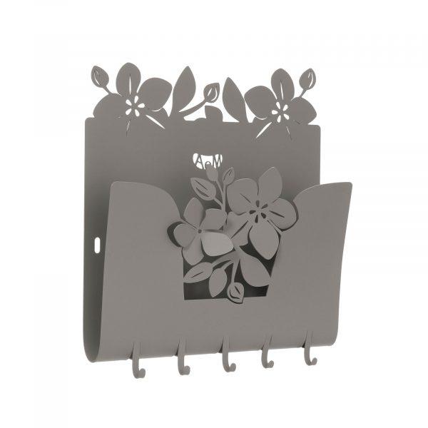 Porta chiavi e porta lettere floreale Fior di loto da parete di Arti e Mestieri